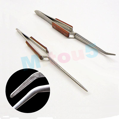 2Pcs Cross Lock Tweezers Self Closing Fiber Grip Set Of Bent & Straight Tip