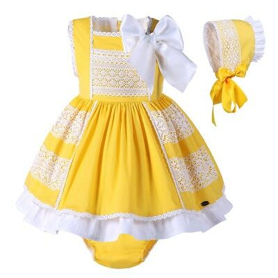 Baby Girls Spanish Dress and Bonnet Set Toddler Kids Bow Lace Party Wedding
