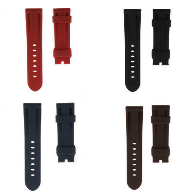 Soft PU Rubber Watch Strap 24mm Wristband + 6 Spring Bar Pin Replacement Set