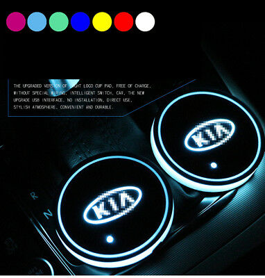 2pcs Switchable 7 Color LED Car Cup Holder Bottom Pad Atmosphere Light For Kia