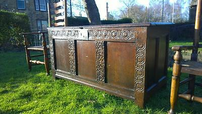 A Handsome Antique Early 17th Century Carved Oak Dowry Chest / Coffer