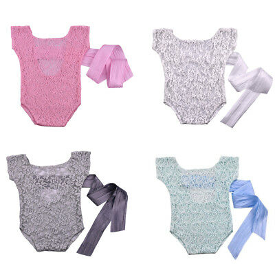 Newborn Infant Baby Girls Lace Bowknot Bodysuit Romper Outfit Clothes Photo Prop