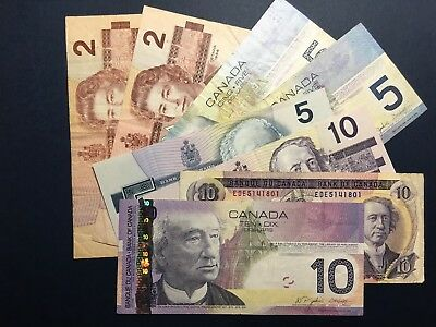 LOT CANADA: 2, 5, 10 Dollars, 8 (EIGHT) Banknotes VF to XF+, NO RESERVE!!!