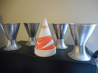 4 Vintage Metal Soda Counter Cup Holders & Paper Cups