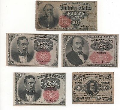 Fractional Currency Lot (5) pieces nice Lot Must see LQQK