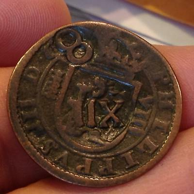 Spanish King Phillip IV 1600's Countermarked Copper COIN-Detector find SPAIN *96