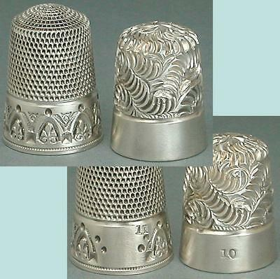 2 Antique Sterling Silver Thimbles by Simons Bros.* Circa 1900s