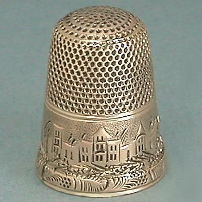 Antique 10 Kt Gold Landscape Thimble * American * Circa 1870