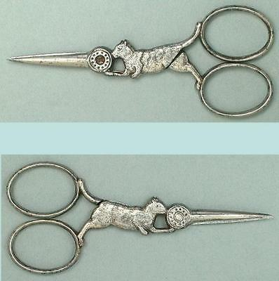 Antique Figural Steel Kitty Cat Scissors * French * Circa 1900s