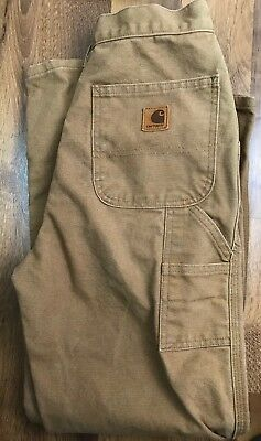 Carhartt Carpenter Canvas Y26 Brn Size 16 Slim Boys Pants Dungarees