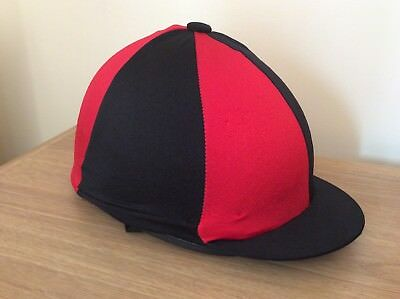 Red & Black Riding Hat Silk Cover For Jockey Skull Caps One Size