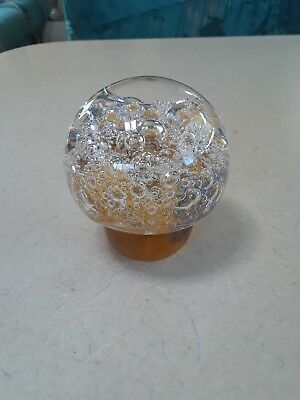 Kosta Warff Mushroom Bubble Glass Paperweight w/ Label and Signed