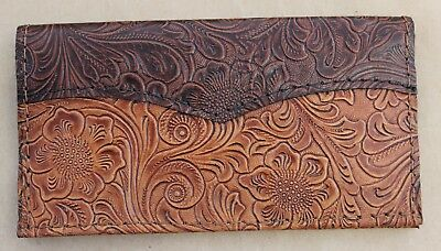 CHOCOLATE over TAN & WESTERN LEATHER CHECKBOOK COVER FREE SHIPPING