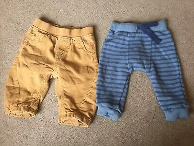 X2 Baby Boys Trousers 3-6 Months Tan Next Chino & Tesco Blue Jogging Bottoms