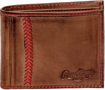 RAWLINGS MENS TANNED-LEATHER Baseball Stitch Embroidered Wallet - Light  Brown -  56.40  9bec625e46d49