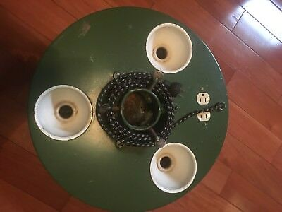 Vtg Metal Christmas Tree Stand Belmont Treeliter Round 3 Light Sockets 2 Outlets