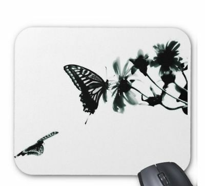 Beautiful Butterfly Flower Black PC Computer Mouse Mat Pad Rectangular 5mm Thick