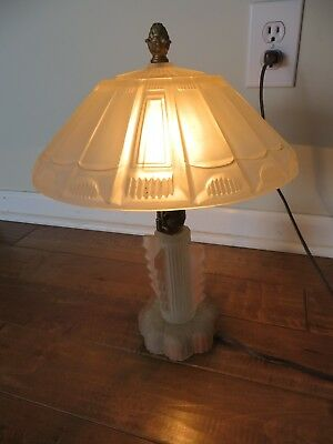 Vintage Deco Mission Depression Frosted Glass Table Lamp Ex Cond