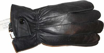 New Men's Leather Gloves, Winter gloves, lined warm Black leather gloves BNWT +*