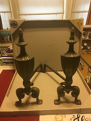 VINTAGE ANTIQUE ANDIRONS UNITED MANUFACTURING COMPANY Fireplace Mantel Cast Iron