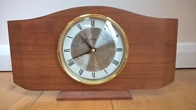 Vintage Smiths Timecal Art Deco Light Wooden Mantel Clock Battery Mantle Retro