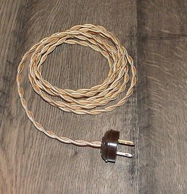 ANTIQUE BRASS ~ 8' Vintage Lamp Cord ~ Twisted Cloth Wire w/ Acorn Plug ~ by PLD
