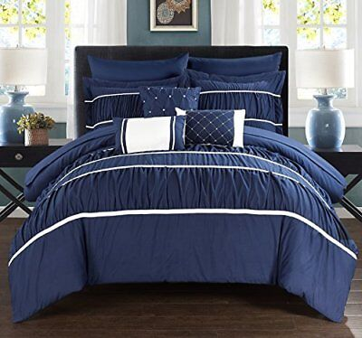 Chic Home 10Piece Cheryl pieghe & Ruffled Bed in a bag Comforter (j4T)