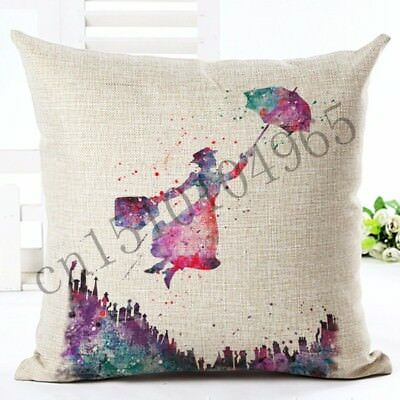 Brand New Stunning Flying Mary Poppins Canvas Watercolour Cushion Cover