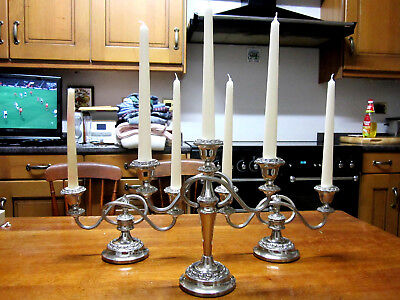 3 Old Regency Style Silver Plate Antique Candelabras English c1970