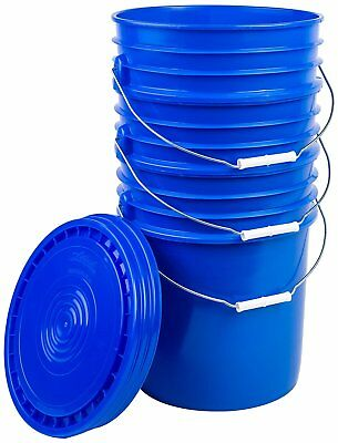 Hudson Exchange Bucket with Handle and Lid, 5 Gallon, Blue, 3 Pack