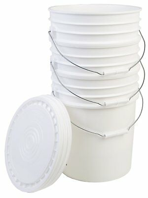 Hudson Exchange Bucket with Handle and Lid, 5 Gallon, White, 3 Pack