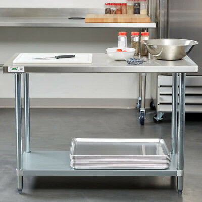 "24"" x 48"" Stainless Steel Commercial Kitchen Work Prep Table with Undershelf"