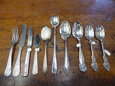 Mixed Lot of Antique Silverware Plated 10 Pieces