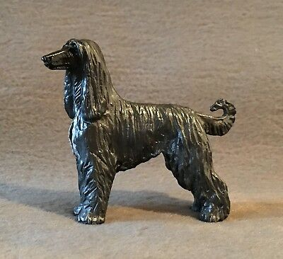 Cast Metal Pewter Painted Afghan Hound Dog Figure Figurine