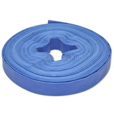 """25 m 1"""" PVC Flat Water Delivery Hose Discharge Pipe Pump Lay Flat Blue S5S1"""