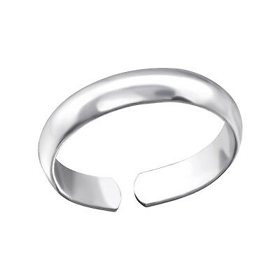 TJS 925 Sterling Silver Toe Ring Plain Band Simple Design Adjustable Jewellery