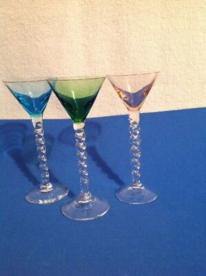 Vintage Blown Art Glass Multi Color Cocktail Wine With Twisted Stems