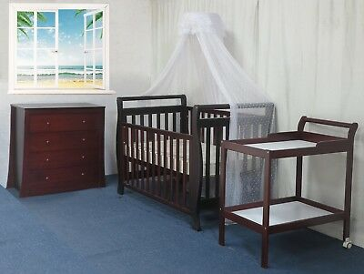 3 IN 1 Sleigh Cot Change table Chest Mattress Pad Baby Bed Crib Package Walnut