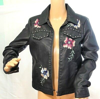42aef433f BACCINI BLACK FAUX Leather Jacket XL Chains Crystals Snakeskin Print ...
