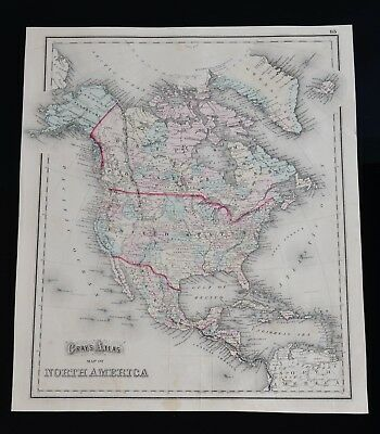 Antique O.W. Gray & Son PA 1873 Map, West Indies  Central America South America
