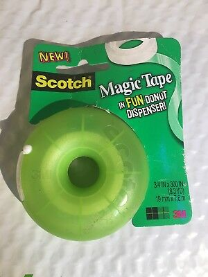3M Scotch Magic Tape Donut Refillable Blue Dispenser 3/4 in by 300 in NEW(GREEN)