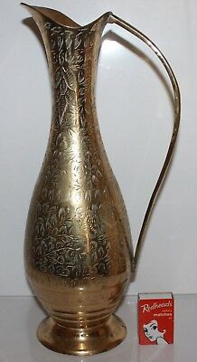 Brass Jug Ewer Handle Etched Feather Pattern 35cm Extra Tall Made India Vintage