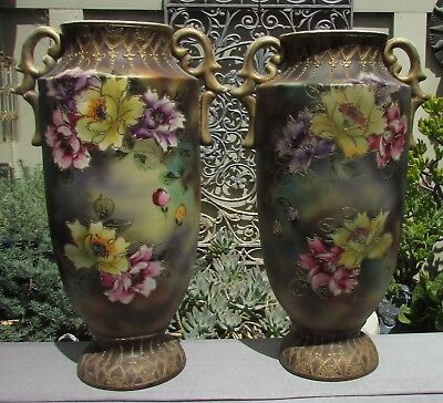 Large Original Pair Early Hand Painted Mantle Vases Nippon Satsuma Signed
