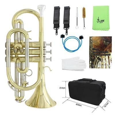 Professional Bb Flat Cornet Brass Instrument with Carrying Case Gloves R9A5