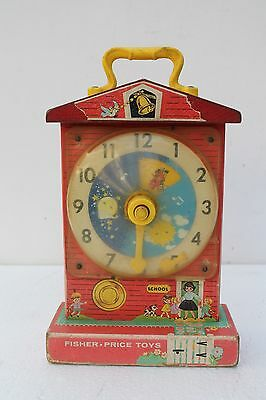 Antique Fisher Price music box teaching clock wooden Japan NH1866