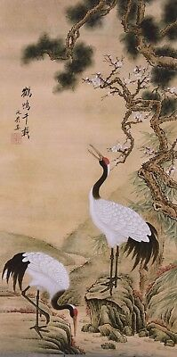 Crane bird lover&flower-STUNNING ORIGINAL ASIAN ART CHINESE WATERCOLOR PAINTING