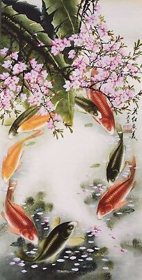 ORIENTAL ASIAN FINE ART CHINESE ANIMAL WATERCOLOR PAINTING-Fortune fish family