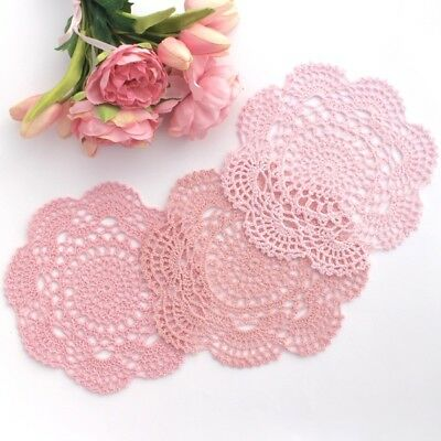 Crochet doilies pink,vintage and light pink 20-22 cm for millinery,crafts