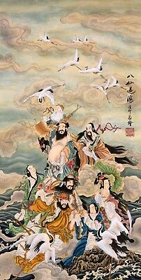 ORIGINAL ASIAN FINE ART CHINESE FIGURE WATERCOLOR PAINTING-Eight immortals&bird