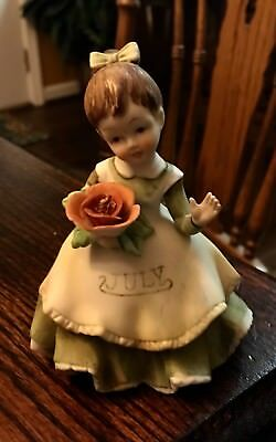 Vintage Lefton Hand Painted Porcelain Doll Of The Month July KW4200 Japan